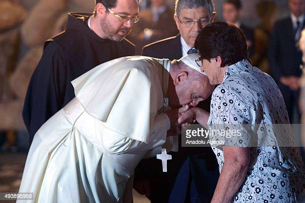 Pope Francis' visit to the Yad Vashem Holocaust Museum in Jerusalem with Israeli President Shimon Peres and Prime Ministrer Benjamin Netanyahu on May...