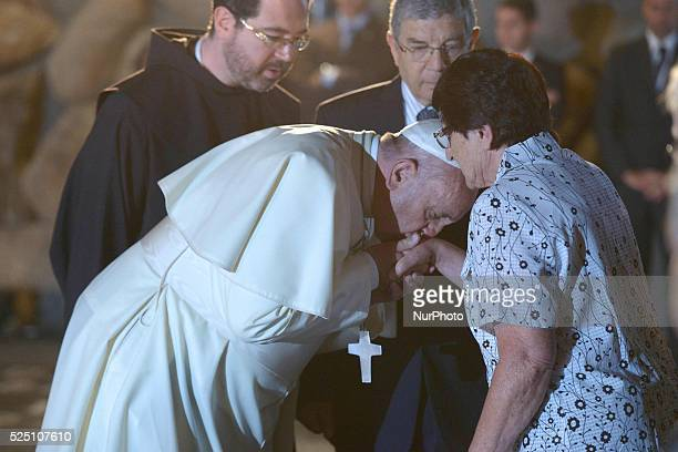 Pope Francis' visit to the Yad Vashem Holocaust Museum in Jerusalem with President Shimon Peres and Prime Ministrer Benjamin Netanyahu Photo Amos Ben...