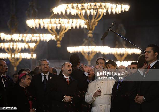 Pope Francis visits Hagia Sophia Mosque on November 29 2014 in Istanbul The pope held talks with Turkish President Recep Tayyip Erdogan in Ankara on...