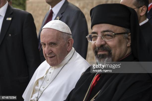 Pope Francis visits the Coptic Catholic College in Cairo Egypt on April 29 2017