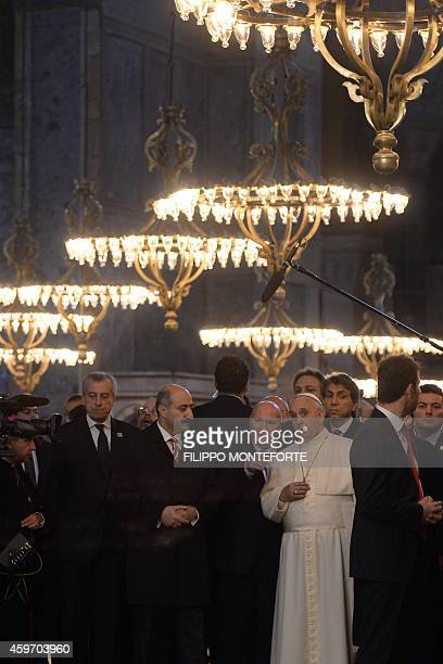 Pope Francis visits the Hagia Sophia Mosque on November 29 2014 in Istanbul The pope held talks with Turkish President Recep Tayyip Erdogan in Ankara...