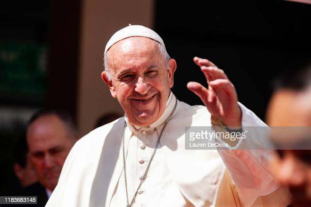 Pope Francis visits the Saint Louis Hospital on November 21, 2019 in Bangkok, Thailand. Pope Francis arrived in Bangkok yesterday to begin a three...