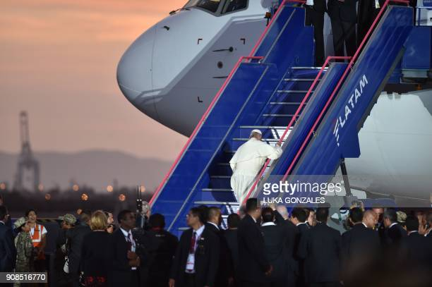 Pope Francis waves goodbye before boarding the plane back to Rome at Lima's airport on January 21 2018 Pope Francis took a tough stand against...