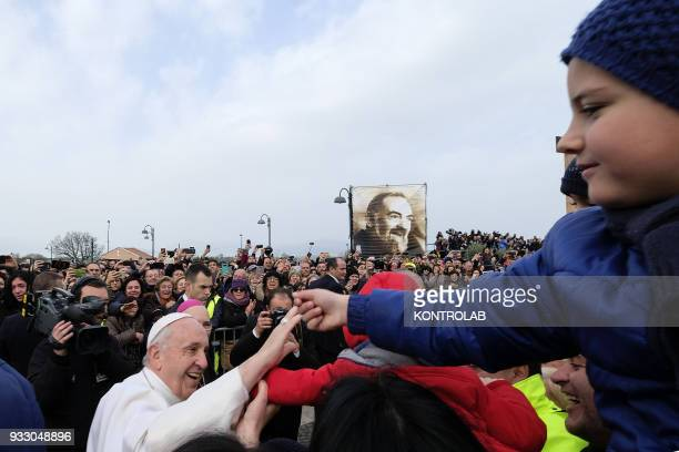 PIETRELCINA CAMPANIA ITALY Pope Francis waves to faithful during his visit in the birthplace of Padre Pio the famous Saint known for his miracles...