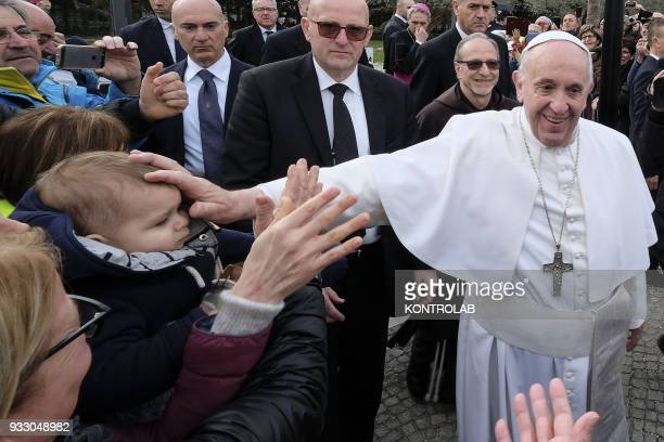 PIETRELCINA CAMPANIA ITALY Pope Francis waves to faithfuls during his one hour visit in Pietrelcina the birthplace of San Pio one of saint most...