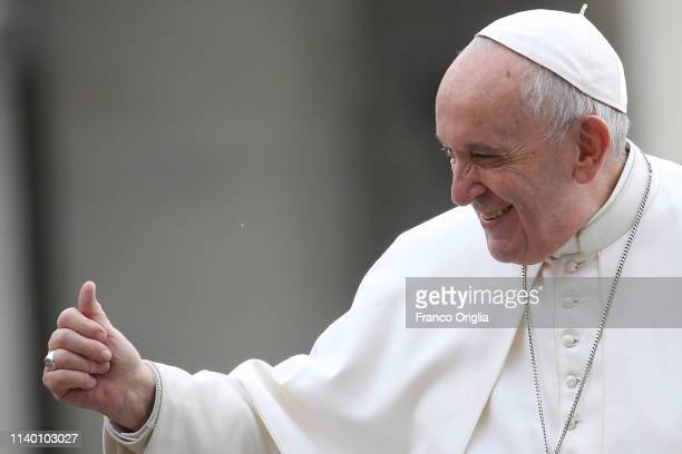 Pope Francis waves to the faithful as he arrives in St Peter's square for his weekly audience on April 03 2019 in Vatican City Vatican Pope Francis...
