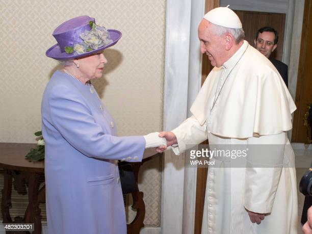 Pope Francis welcomes Queen Elizabeth II for a private audience during their oneday visit to Rome on April 3 2014 in Vatican City Vatican During...