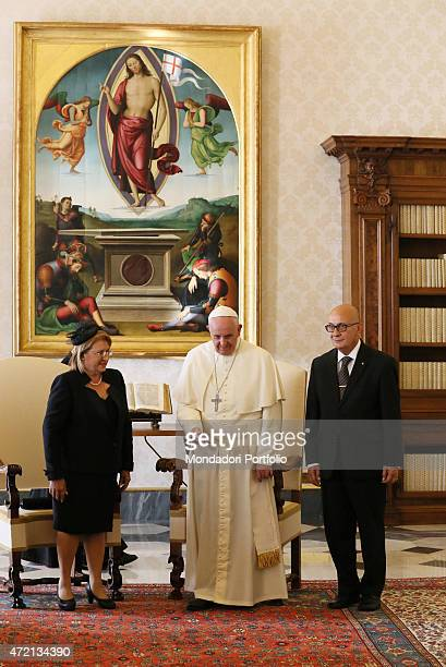 'Pope Francis welcoming the President of the Republic of Malta Marie Louise Coleiro Preca and her husband Edgar Preca at the private library of the...