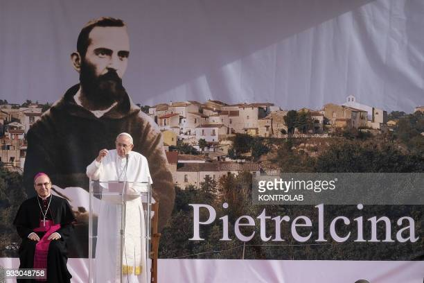 PIETRELCINA CAMPANIA ITALY Pope Francis with Archbishop of Benevento Felice Accrocca during his visit one hour visit in Pietrelcina the birthplace of...