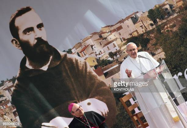 PIETRELCINA CAMPANIA ITALY Pope Francis with Archbishop of Benevento Felice Accrocca during his visit in the birthplace of Padre Pio the famous Saint...