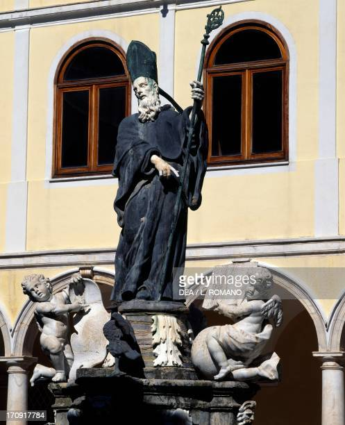 Pope Gregory I detail from the fountain in the cloister of the Abbey of San Martino delle Scale Monreale Sicily Italy