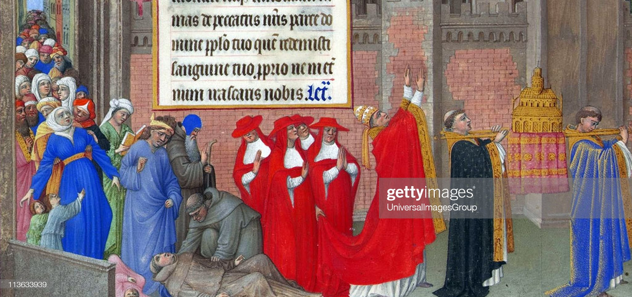 Pope Gregory I during the Great Plague. in 589 when plague struck Rome. With the death of Pope Pelagius, who was stricken by the plague, all of Rome acclaimed Gregory as Pope. He fled to a cave, but the people found him and brought him back to Rome, where... : News Photo