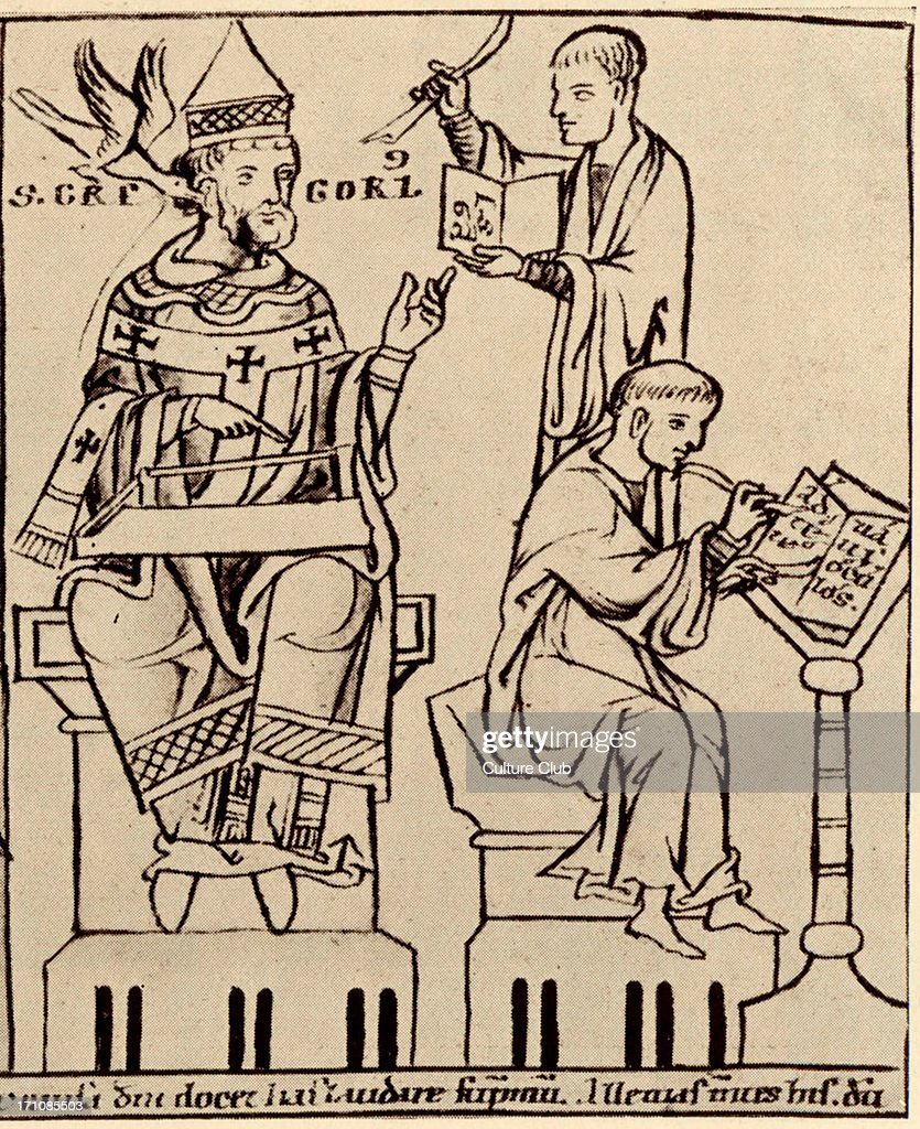 Pope GREGORY I, founder of Gregorian chant with monochord  Dove