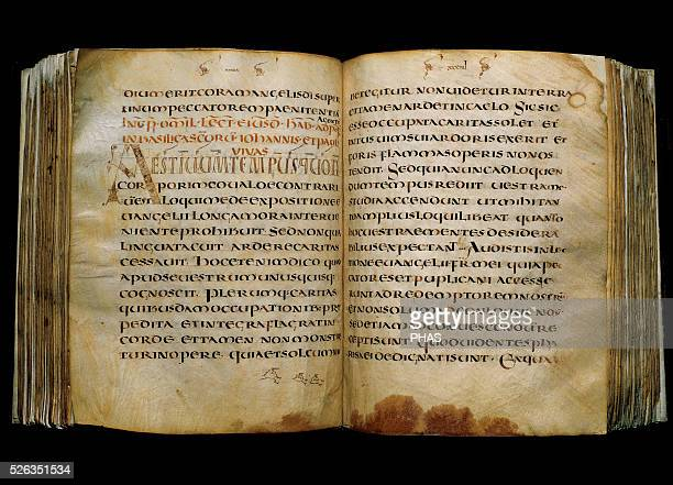 Pope Gregory I Manuscript on parchment Text Gregory I Contains the last 20 homilies of St Gregory Uncial script From Merovingian Gaul 7th century