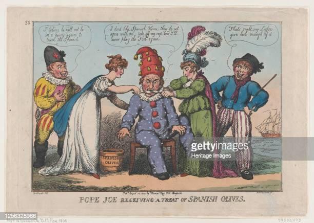 Pope Joe Receiving a Treat of Spanish Olives August 23 1808 Artist Thomas Rowlandson