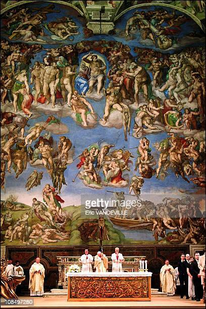 Pope John Paul during a ceremony inside the Sistine chapel 'The last judgement' painted by Michelangelo in Rome Vatican City on April 01 2005