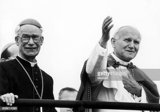 Pope John Paul II accompanied by Bishop blesses congregation at Mass Heaton Park Manchester Monday 31st May 1982