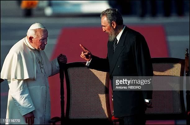 Pope John Paul II Arrives in Havana, Cuba on January 21, 1998 - Welcome Ceremony at Jose Marti Airport.