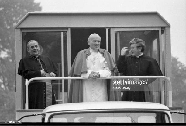 Pope John Paul II arrives in the popemobile at Maynooth College in County Kildare, during the Pope's visit to Ireland, 1st October 1979.