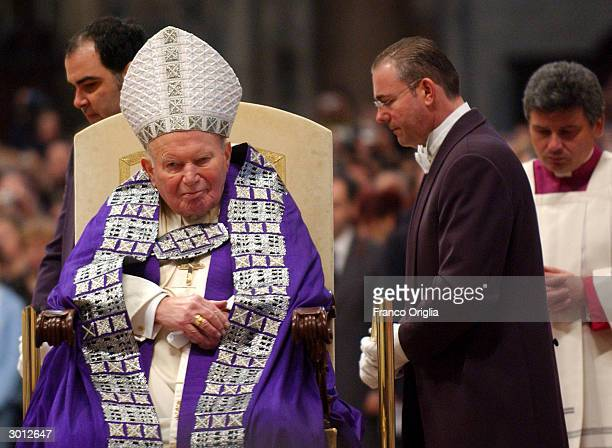 Pope John Paul II attends the Blessing and Imposition of the Ashes at St Peters Basilica during the Ash Wednesday Service on February 25 2004 in the...