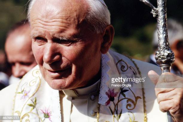 Pope John Paul II celebrates a mass during his visit to the Italian region of Aosta Valley where he is spending his holiday on August 21 1994 in Italy