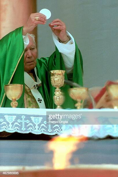 Pope John Paul II celebrates a mass in occasion of the 'Jubilee of Sports People' during the Jubilee Year in St Peter's Square on October 29 2000 in...