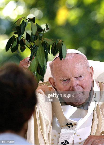 Pope John Paul II celebrates an openair mass on August 15 2004 in Lourdes France The Pope is in Lourdes for a twoday pilgrimage at the Roman Catholic...