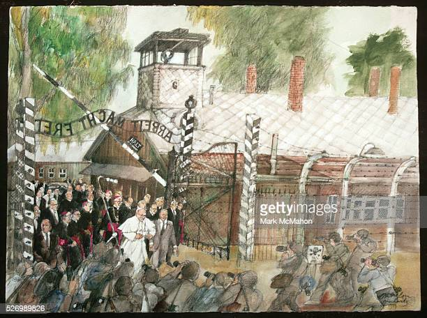 Pope John Paul II Enter Gate at Auschwitz Concentration Camp by Franklin McMahon