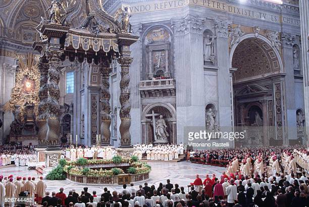Pope John Paul II gives a service in Saint Peter's Basilica | Located in St Peter's Basilica