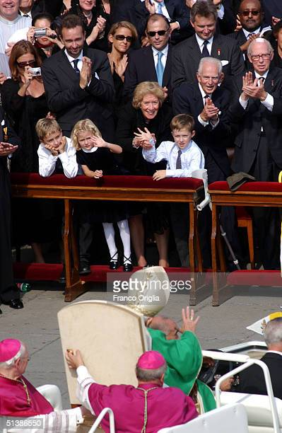 Pope John Paul II greets the Habsburg Family: Francesca Von Thyssen and Austria's Archduke Karl, with their sons, at the end of a beatification...
