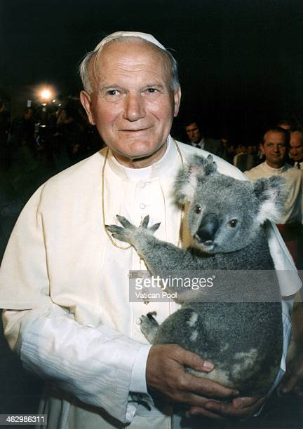 Pope John Paul II holds a koala in his arms during his official visit to Oceania on November 25 1986 in Brisbane Australia