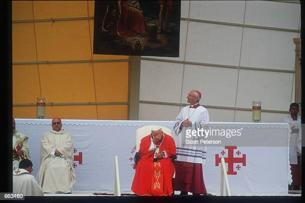 Pope John Paul II holds Mass for 40000 at the Sport City Stadium March 21 2000 in Amman Jordan He is the first Roman Catholic Pope to give Mass in...