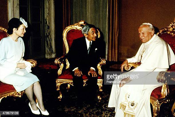 Pope John Paul II meets Emperor Akihito and Empress Michiko of Japan at his summer residence on September 3 1993 in Castel Gandolfo Italy