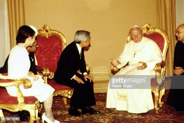 Pope John Paul II meets Emperor Akihito and Empress Michiko of Japan at his summer residence on September 3, 1993 in Castel Gandolfo, Italy.