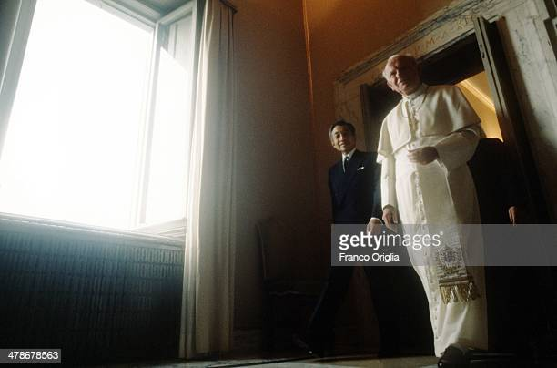 Pope John Paul II meets Emperor Akihito of Japan at the Apostolic Palace on September , 1993 in Vatican City, Vatican.