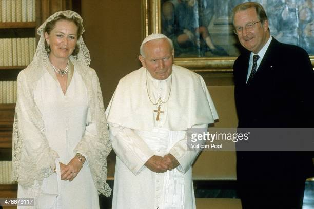 Pope John Paul II meets Queen Paola of Belgium and King Albert of Belgium at his private library in the Apostolic Palace on May 15 1998 in Vatican...