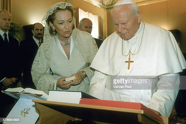 Pope John Paul II meets Queen Paola of Belgium at his private library in the Apostolic Palace on May 15, 1998 in Vatican City, Vatican.