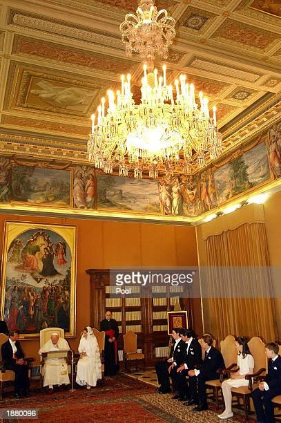 Pope John Paul II meets with Luxembourg's Grand Duke Henri and Grand Duchess Maria Teresa and their children Guillaume, Felix, Louis, Alexandra and...