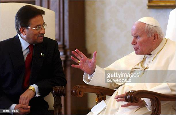 Pope John Paul II met with Pakistani President Gen Pervez Musharraf encouraging him to press ahead with a 'spirit of dialogue and tolerance' in his...