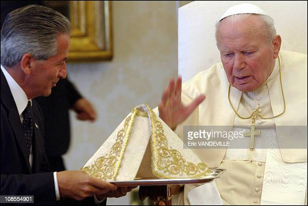 Pope John Paul II received Honduras's President Ricardo Maduro in Rome Italy on May 17th 2004