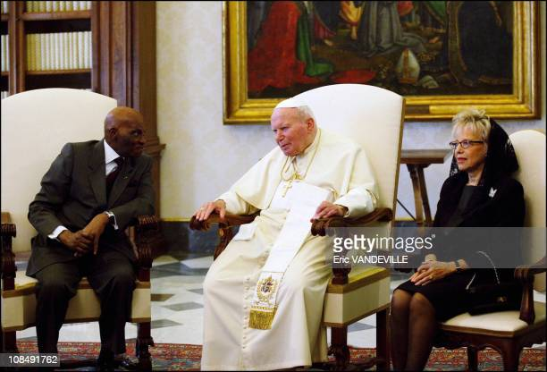 Pope John Paul II received Senegal's President Abdoulaye Wade and his wife Karim in Rome Italy on May 13th 2004