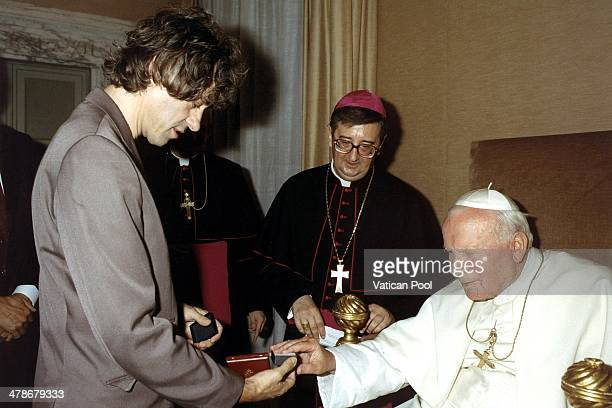 Pope John Paul II receives Bob Geldof in the context of the Jubilee 2000 project to cancel 3rd World debt on September 23 1999 in Castel Gandolfo...