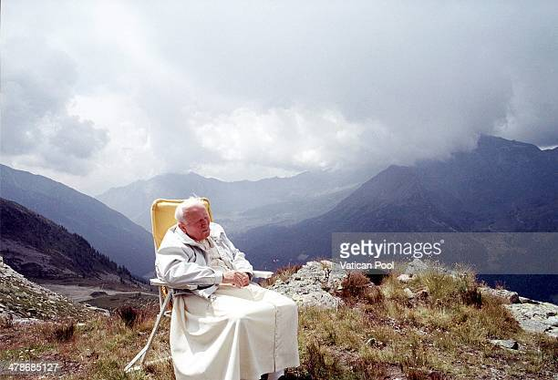 Pope John Paul II rests in the northern region of Val d'Aoste on July 10 2000 in Les Combes Italy