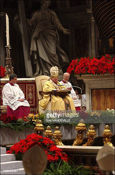 Pope John Paul II used the traditional Christmas midnight mass at the Vatican in Rome, Italy on December 24th for reiterating a call for world peace,...