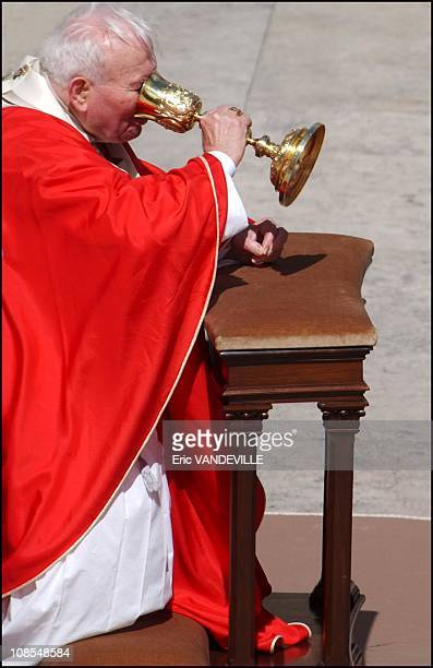 Pope John Paul II very tired and suffering of knee pain scaled back his participation in a Palm Sunday ceremony taking the unusual step of letting a...