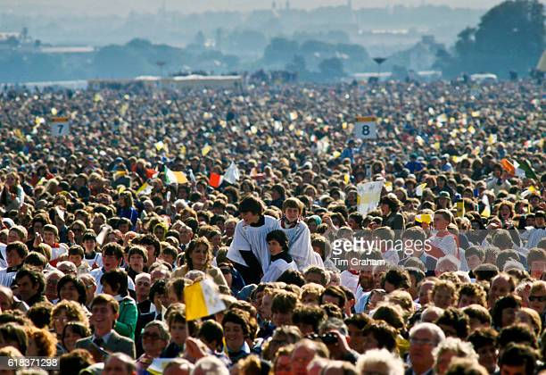 Pope John Paul II Visit to Ireland Pilgrims Attend Mass at Knock