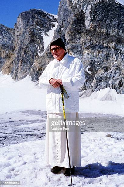 Pope John Paul II visits the St Bernard Glacier on August 25 1994 in Valle D'Aosta Aosta Italy