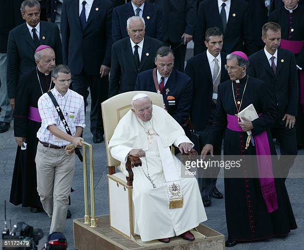 Pope John Paul II visits the Virgin Mary shrine August 14 2004 in Lourdes France Pope John Paul II arrived in Lourdes for a twoday pilgrimage at the...