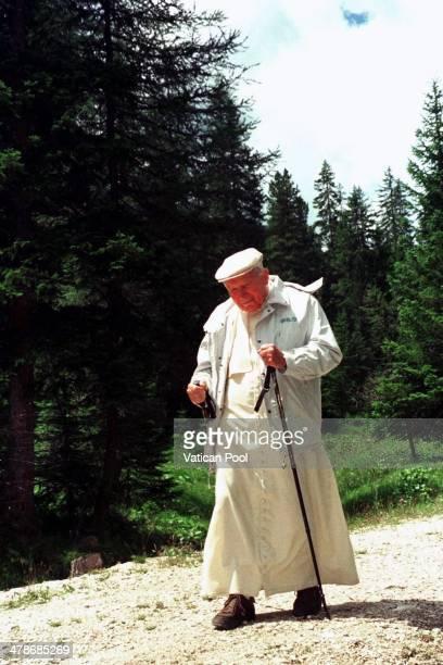 Pope John Paul II walks during his holiday in Lorenzago di Cadore on July 16 1998 in Lorenzago di Cadore Belluno Italy