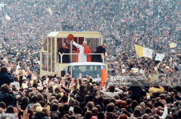 Pope John Paul II waves to cheering crowds from his Popemobile in September 1979 in Ireland On April 1 2005 Pope John Paul II fell gravely ill at the...